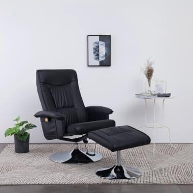 vidaXL Atlošiamas masažinis krėslas su pakoja, juodos sp., dirbt. oda[1/9]