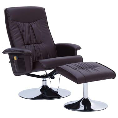 vidaXL Fotel do masażu z podnóżkiem, regulowany, brązowy, ekoskóra[2/9]