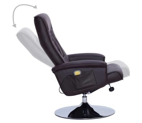 vidaXL Fotel do masażu z podnóżkiem, regulowany, brązowy, ekoskóra[4/9]