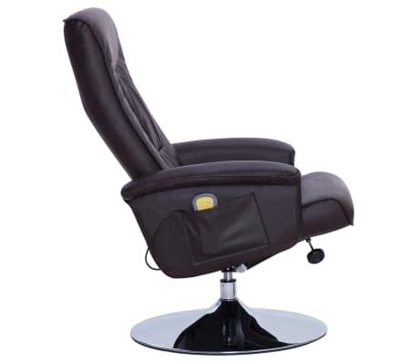 vidaXL Fotel do masażu z podnóżkiem, regulowany, brązowy, ekoskóra[5/9]