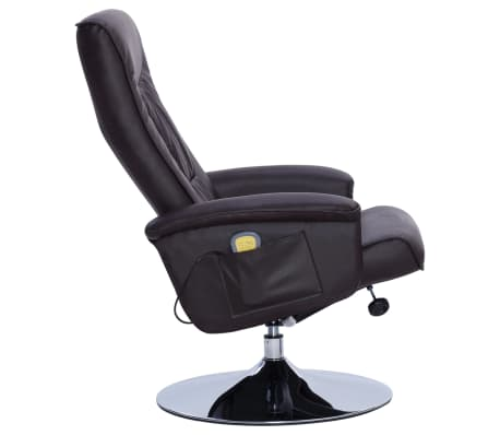 vidaXL Fotel do masażu z podnóżkiem, regulowany, brązowy, ekoskóra[6/9]