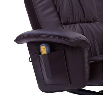 vidaXL Fotel do masażu z podnóżkiem, regulowany, brązowy, ekoskóra[7/9]
