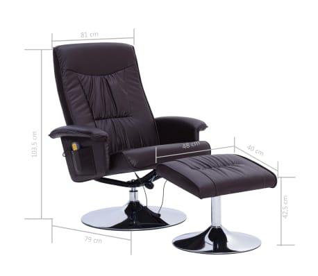 vidaXL Fotel do masażu z podnóżkiem, regulowany, brązowy, ekoskóra[9/9]