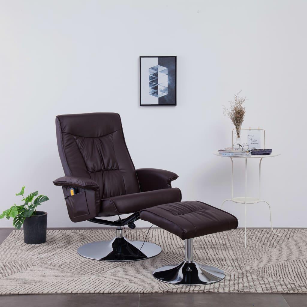 vidaXL Fotel do masażu z podnóżkiem, regulowany, brązowy, ekoskóra