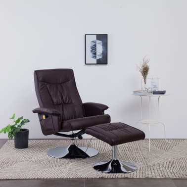 vidaXL Fotel do masażu z podnóżkiem, regulowany, brązowy, ekoskóra[1/9]