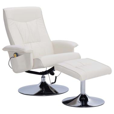 vidaXL Atlošiamas masažinis krėslas su pakoja, krem. sp., dirbt. oda[2/9]