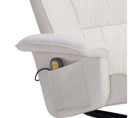 vidaXL Atlošiamas masažinis krėslas su pakoja, krem. sp., dirbt. oda[7/9]