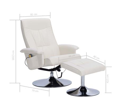 vidaXL Atlošiamas masažinis krėslas su pakoja, krem. sp., dirbt. oda[9/9]