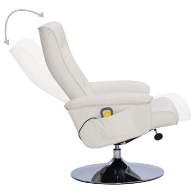vidaXL Atlošiamas masažinis krėslas su pakoja, krem. sp., dirbt. oda[4/9]