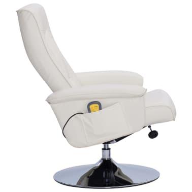 vidaXL Atlošiamas masažinis krėslas su pakoja, krem. sp., dirbt. oda[5/9]
