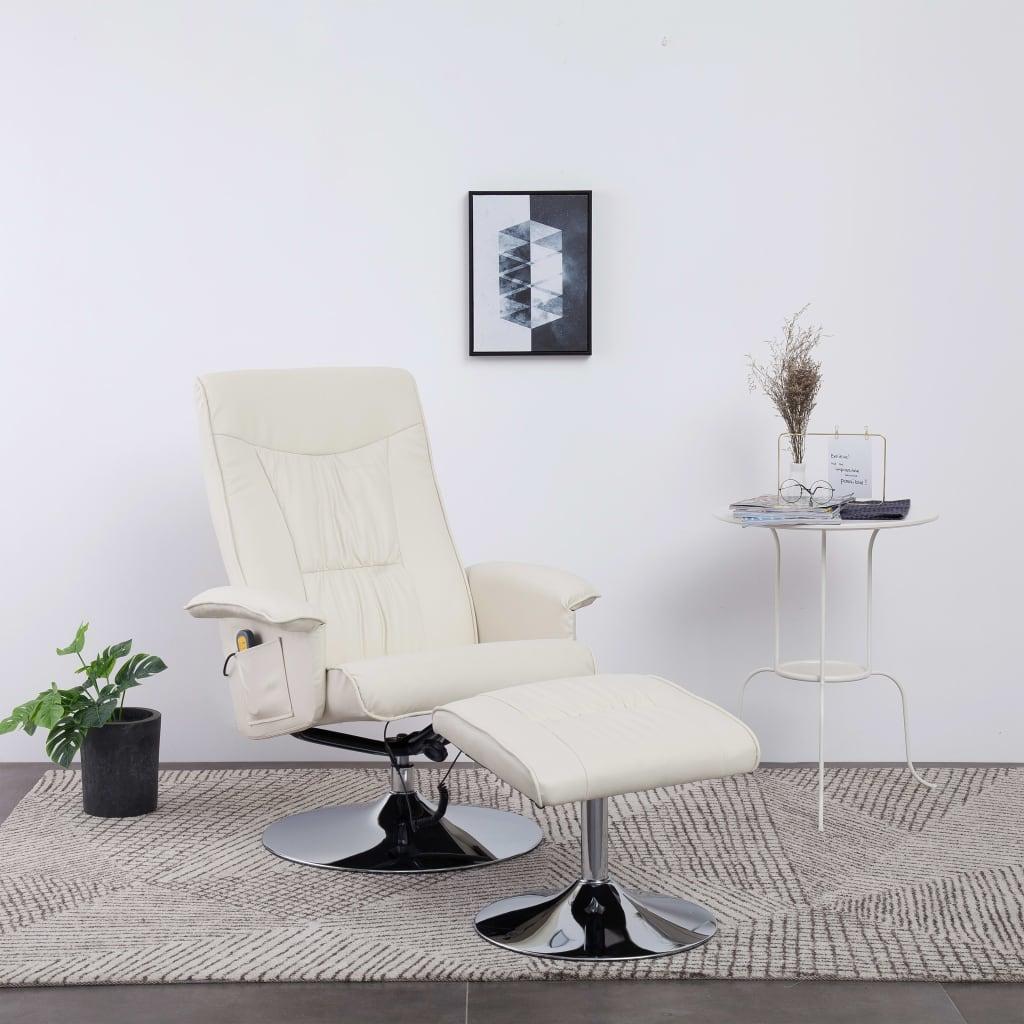 vidaXL Fotel do masażu z podnóżkiem, regulowany, kremowy, ekoskóra