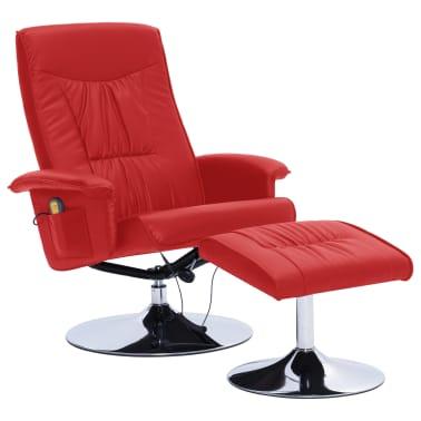 vidaXL Atlošiamas masažinis krėslas su pakoja, raud. sp., dirbt. oda[2/9]