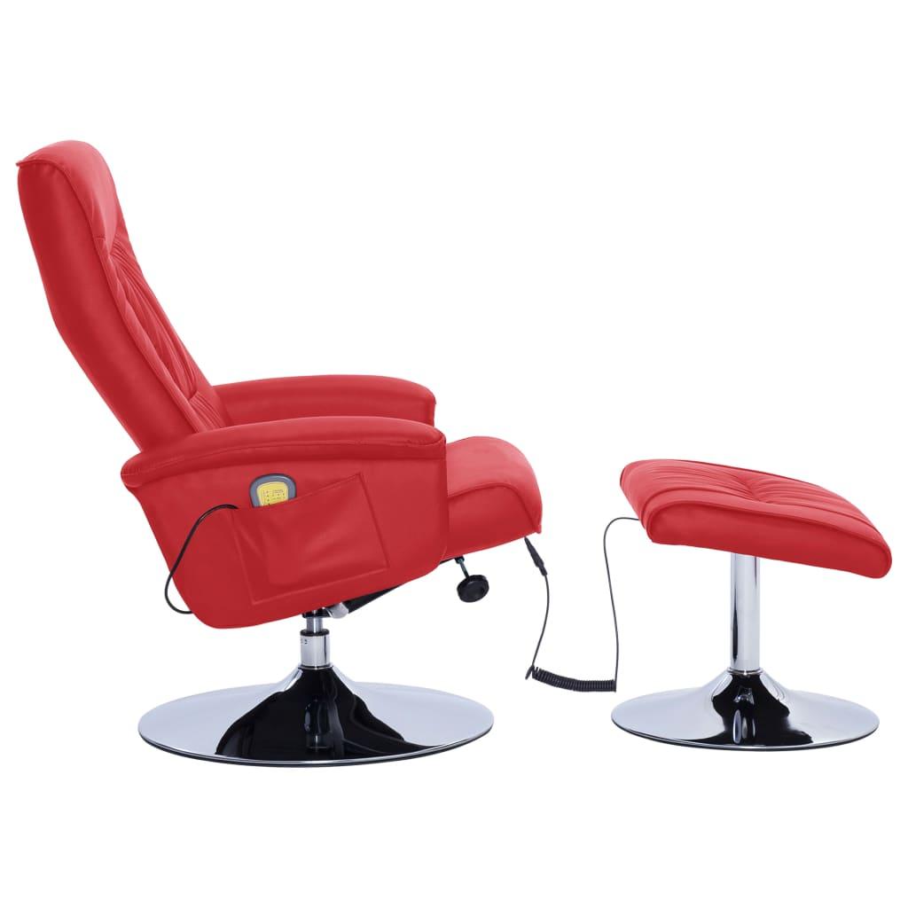 vidaXL Massagestoel verstelbaar met voetenbankje kunstleer rood