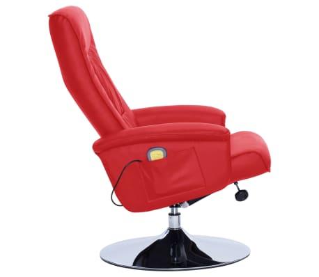 vidaXL Atlošiamas masažinis krėslas su pakoja, raud. sp., dirbt. oda[5/9]
