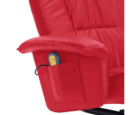 vidaXL Atlošiamas masažinis krėslas su pakoja, raud. sp., dirbt. oda[7/9]