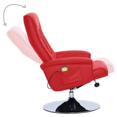 vidaXL Atlošiamas masažinis krėslas su pakoja, raud. sp., dirbt. oda[4/9]
