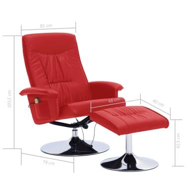 vidaXL Atlošiamas masažinis krėslas su pakoja, raud. sp., dirbt. oda[9/9]