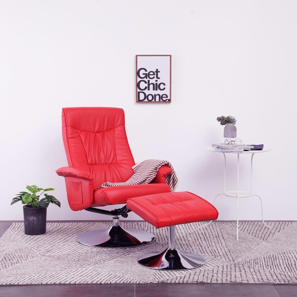 vidaXL Fotel do masażu z podnóżkiem, regulowany, czerwony, ekoskóra