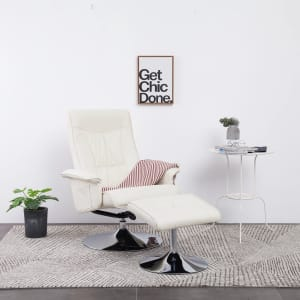 Shop vidaXL Lenestol med fotskammel kremhvit kunstig skinn