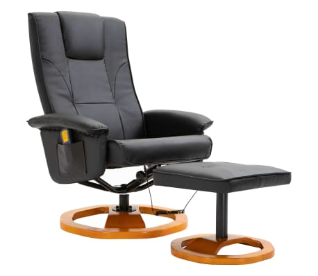 vidaXL Massage Chair with Foot Stool Black Faux Leather[2/11]