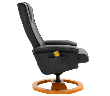vidaXL Massage Chair with Foot Stool Black Faux Leather[5/11]
