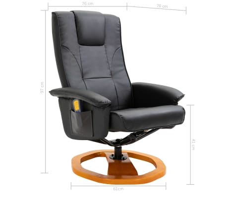 vidaXL Massage Chair with Foot Stool Black Faux Leather[11/11]
