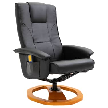vidaXL Massage Chair with Foot Stool Black Faux Leather[3/11]