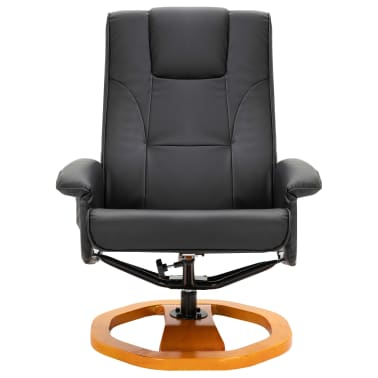 vidaXL Massage Chair with Foot Stool Black Faux Leather[4/11]