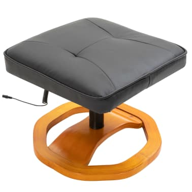 vidaXL Massage Chair with Foot Stool Black Faux Leather[7/11]