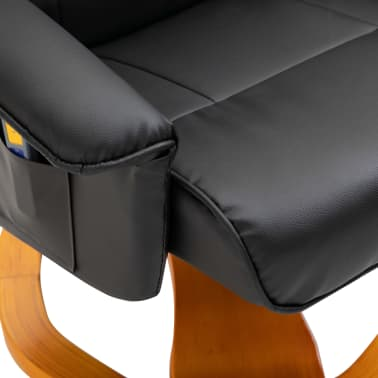 vidaXL Massage Chair with Foot Stool Black Faux Leather[8/11]