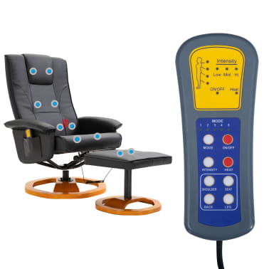 vidaXL Massage Chair with Foot Stool Black Faux Leather[9/11]