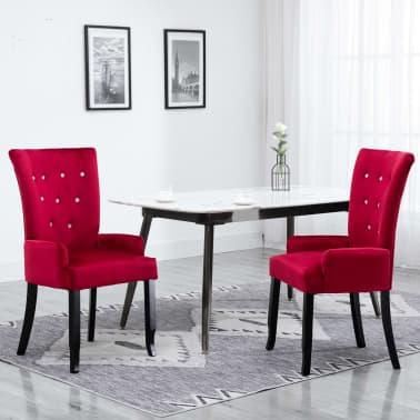 Miraculous Vidaxl Dining Chair With Armrests Red Velvet Vidaxl Com Uwap Interior Chair Design Uwaporg