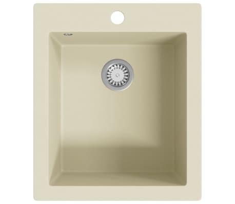 Granite Overmount Kitchen Sink Single Basin Plumbing Kit w Basket Strainer Waste