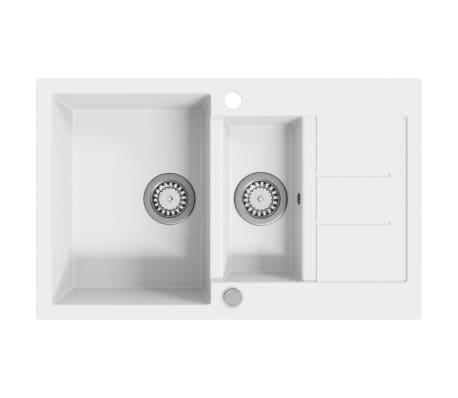 vidaXL Évier de cuisine Granit Double lavabo Blanc[1/4]