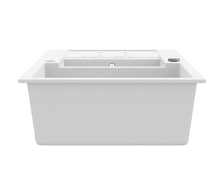 vidaXL Évier de cuisine Granit Double lavabo Blanc[4/4]