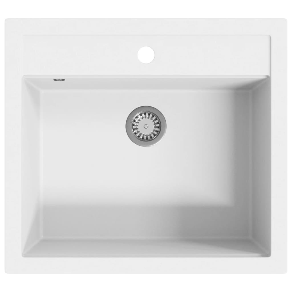 ühepoolne köögivalamu, graniit, valge