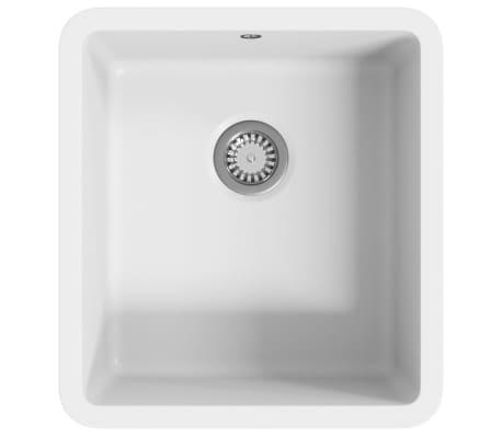 vidaXL Evier de Cuisine Double Lavabo Egouttoir Encastr/é R/éversible avec Trou de Montage pour Robinet et Distributeur de Savon Int/érieur Maison Granit Blanc