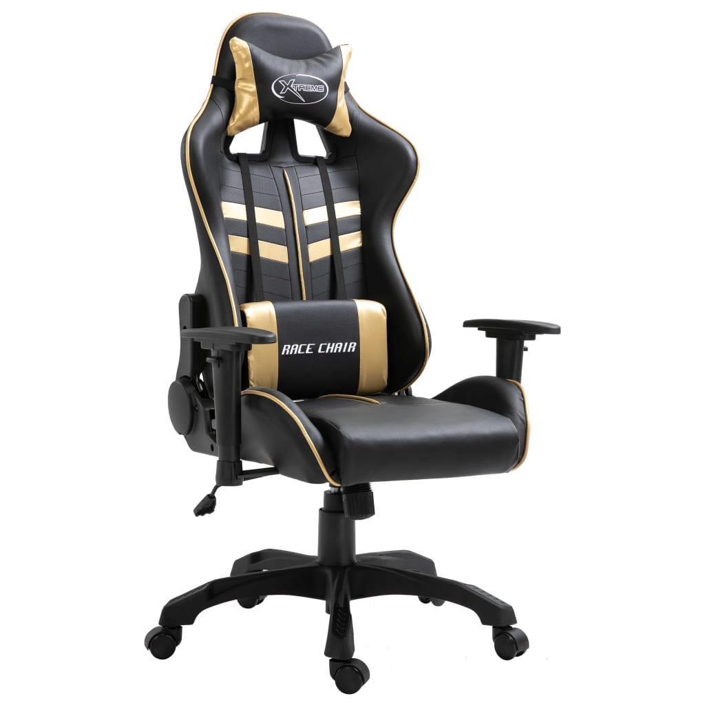 Herní židle zlatá PU