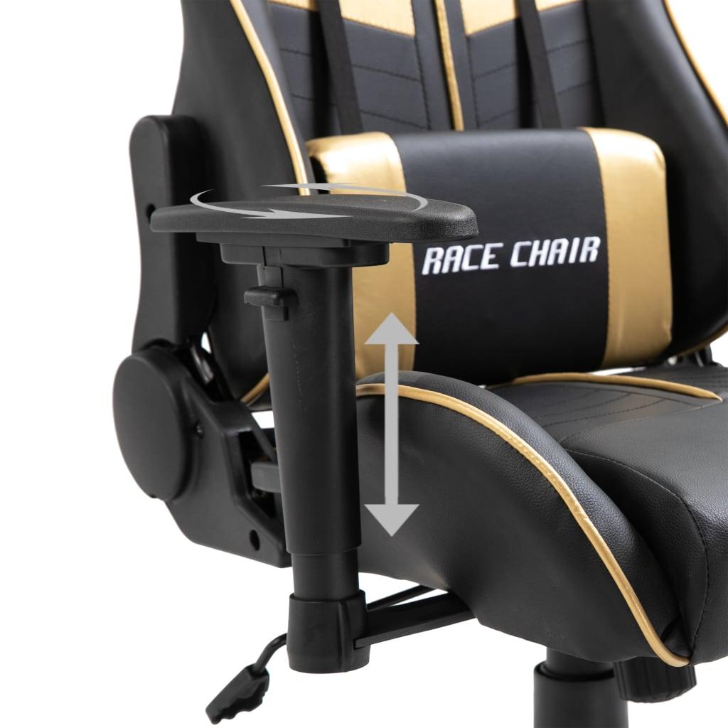 Herní židle zlatá umělá kůže
