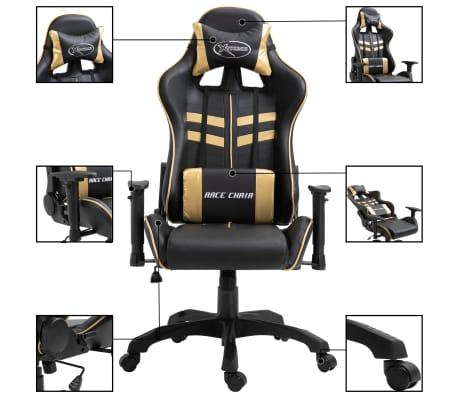 vidaXL Gaming-Stuhl Golden Kunstleder[2/9]