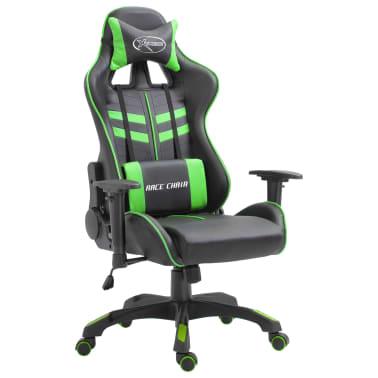 vidaXL Žaidimų kėdė, žalios spalvos, dirbtinė oda[1/9]