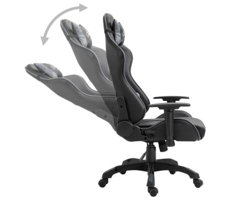 vidaXL Žaidimų kėdė, pilkos spalvos, dirbtinė oda[3/9]