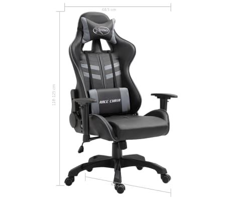 vidaXL Žaidimų kėdė, pilkos spalvos, dirbtinė oda[9/9]
