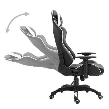 vidaXL Fotel dla gracza, biały, PU[3/9]