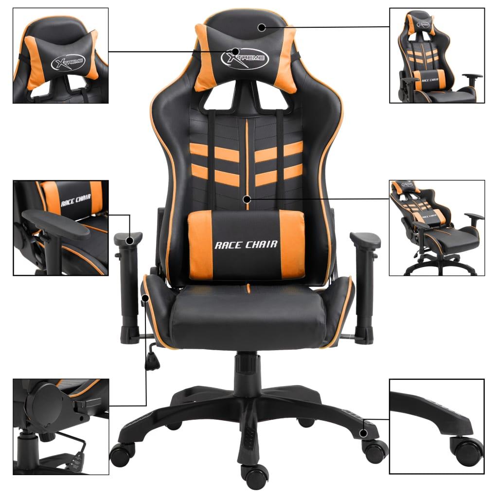 Herní židle oranžová umělá kůže