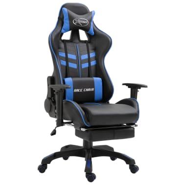 vidaXL Žaidimų kėdė su atrama kojoms, mėlyna, dirbtinė oda[1/11]