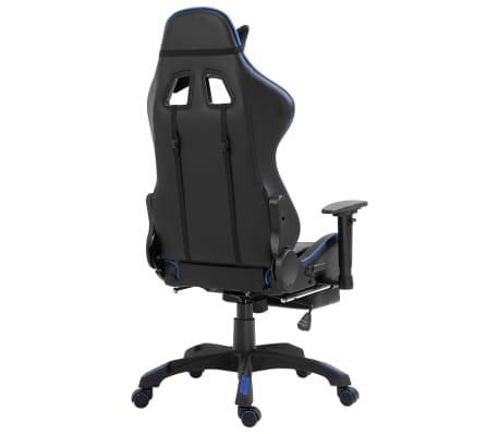 vidaXL Žaidimų kėdė su atrama kojoms, mėlyna, dirbtinė oda[5/11]