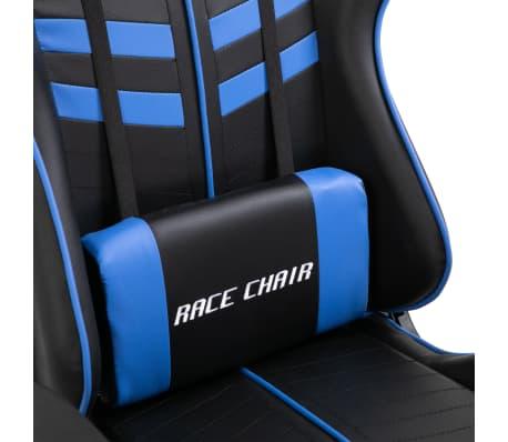 vidaXL Žaidimų kėdė su atrama kojoms, mėlyna, dirbtinė oda[7/11]