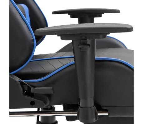 vidaXL Žaidimų kėdė su atrama kojoms, mėlyna, dirbtinė oda[9/11]