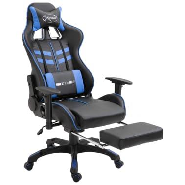 vidaXL Žaidimų kėdė su atrama kojoms, mėlyna, dirbtinė oda[2/11]